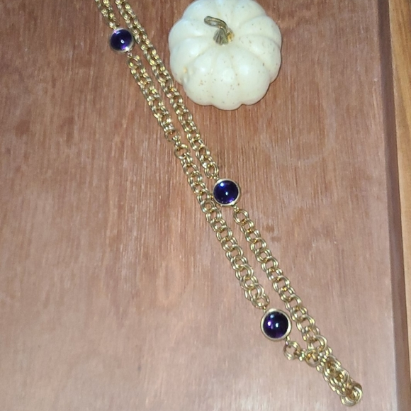 Chunky necklace, long, with purple beads